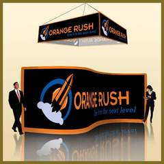 Hire Ken Banick - Portfolio - Orange Rush Sales Meeting Logo • Banners • Wall