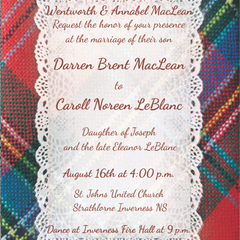 Hire Caroline Poirier - Portfolio - Tartan Wedding Invitation White Lace